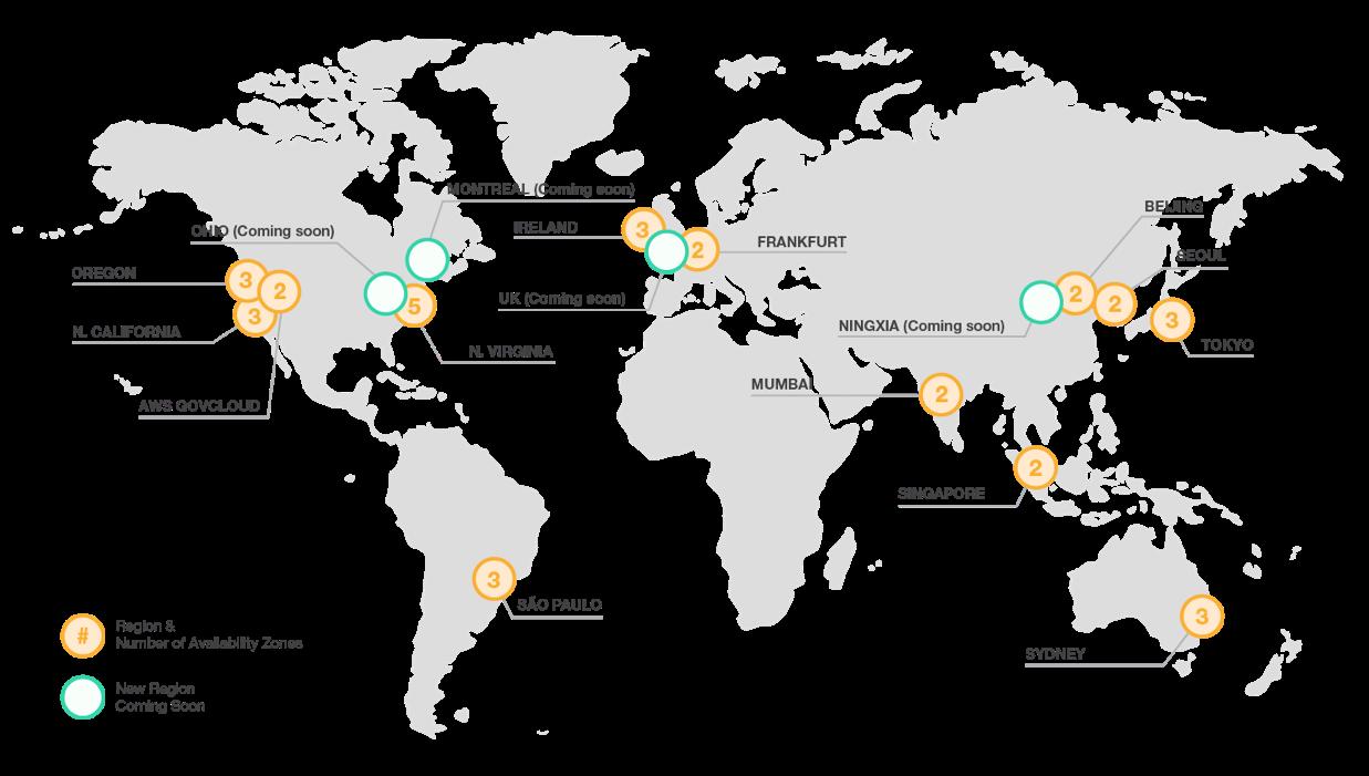 AWS world wide deployment map.