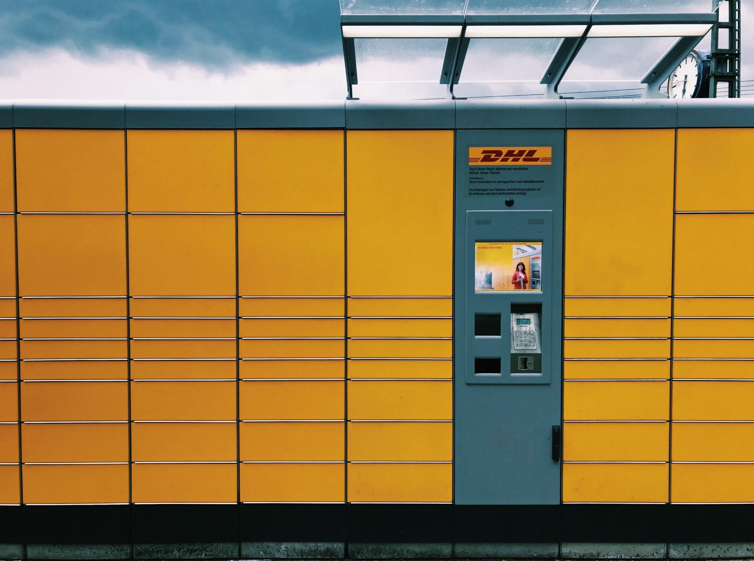 DHL parcel locker self-service kiosk.