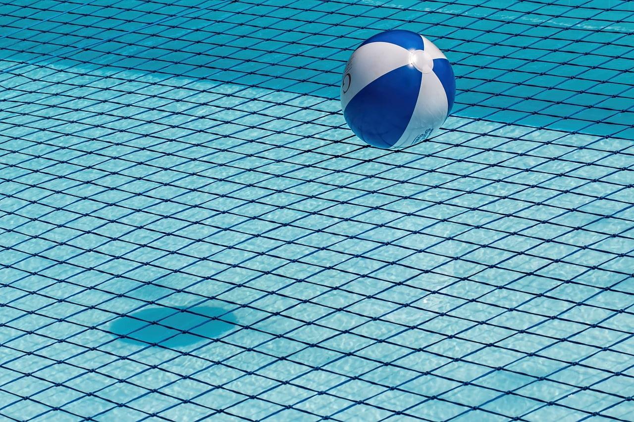 Beach ball in a pool.