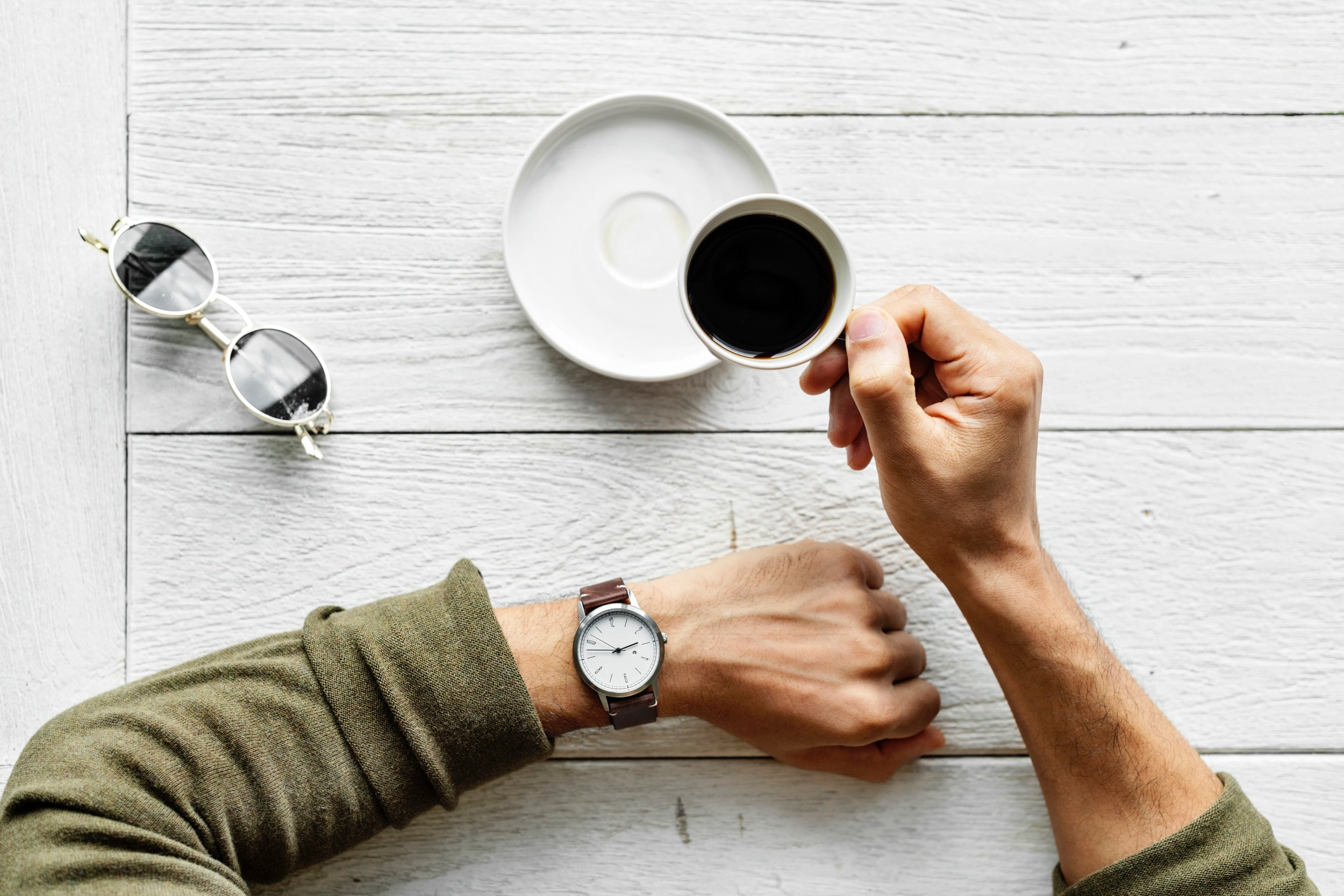 Person taking a coffee break.