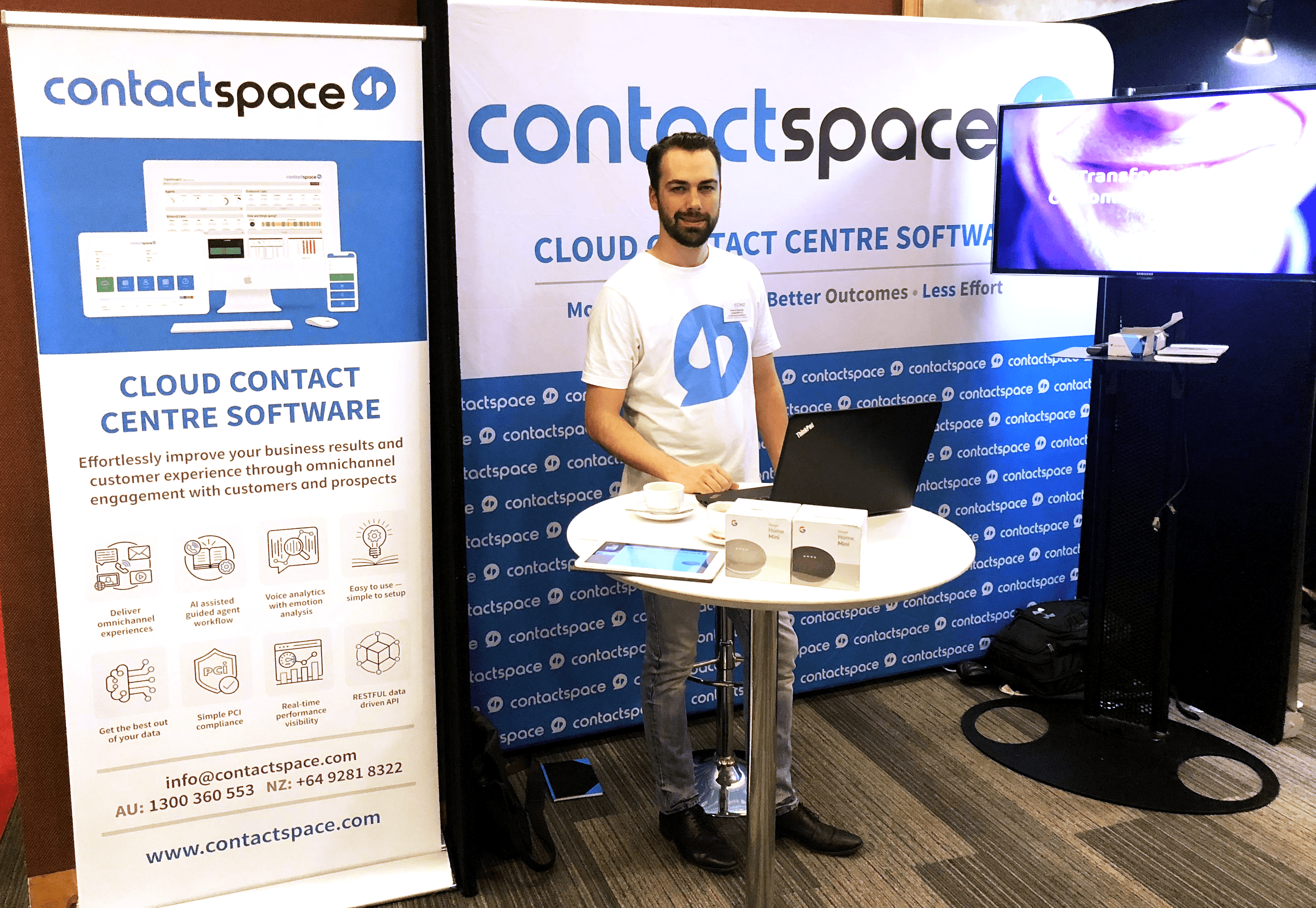 Patrick at the contactSPACE CCiNZ conference stand.